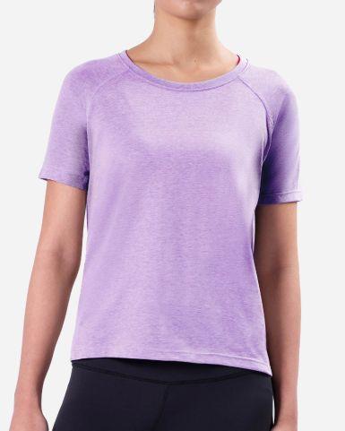 紫色圓領牛角短袖速乾T恤