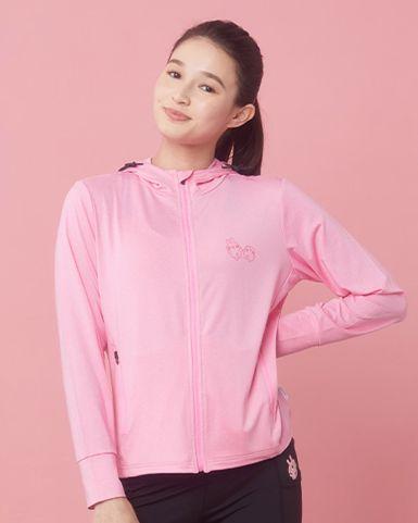 粉紅運動拉鏈連帽防UV速乾外套