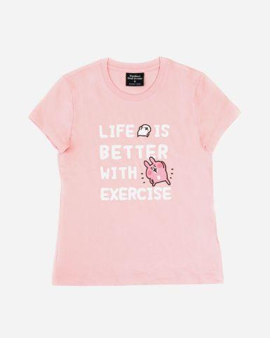 粉紅色印花T恤