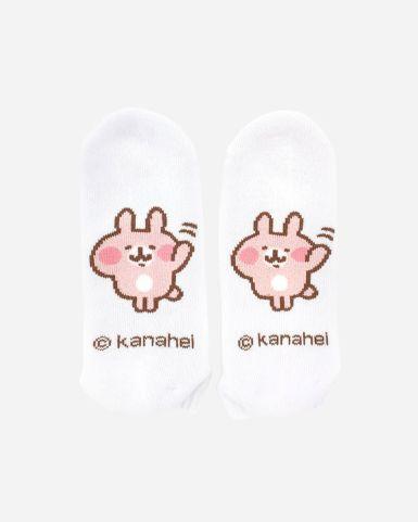 白色粉紅兔兔船襪