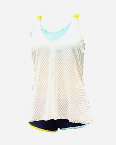 女士泳衣純色BRATOP網紋背心連短褲套裝