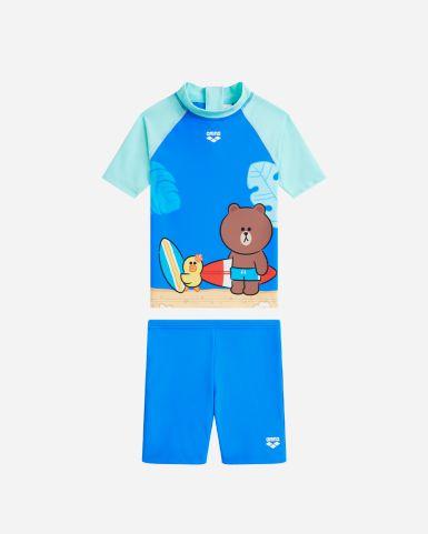 Line Friends 小童 RidetheWave 兩件裝短袖防曬泳衣